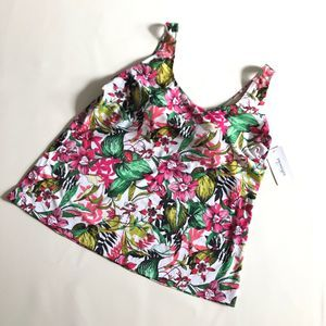 Swimsuits for All 26 Tankini Swim Top Floral NWT